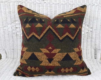 Rustic Pillows, Aztec Pillows, Southwestern Pillows, Navajo Pillows, Red Green Gold, Log Cabin, Native American, Zipper, 18x18, 20x20