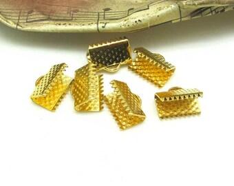 Set of 6 claws Ribbon gold polka dots - 13 mm caps