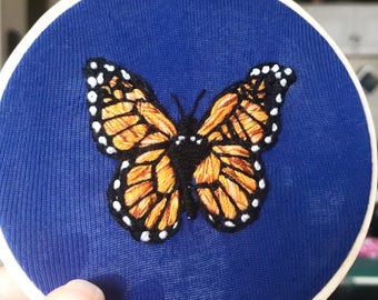 Monarch butterfly hand embroidered hoop art