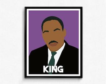 Martin Luther King Jr Portrait- Remarkable Men, MLK, Minimalist Portrait
