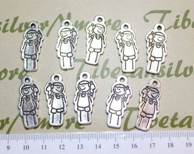 16 pcs - 30x10mm Girl Charm Antique Silver Finish Lead Free Pewter
