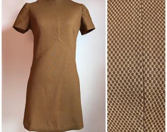 Vintage 1960's Brown Tiny Checkered Mod Shift Mini Dress Small/Medium S/M