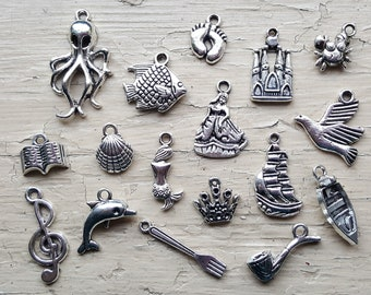 Little Mermaid Charm Set 17 Piece Tibetan Style Silver