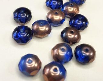 COPPER BLUE Faceted Rondelle