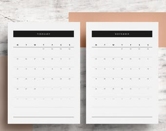 2018 Monthly Calendar (Digital) | Printable Calendar Pages | 12 Month Planner | A4 | US Letter | Minimalist | Black White | Instant Download