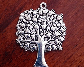 2 Large Tree of Life Charms, Antique Silver Charms, Tree of Life, Yoga and Meditation Charms, Buddha, Craft and Jewelry Supplies, Findings