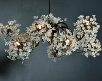 Chandeliers  Light with clear  jumping flowers, Ceiling Lighting Fixtures chandelier with  10 arms for Dining Room table