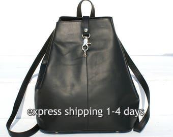 large black leather backpack/ women backpack/ travel backpack/ black leather bag/ leather rucksack / Greek leather bag/code 330