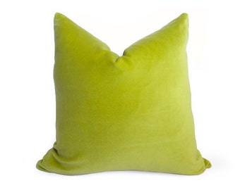 Cotton Velvet Pillow Cover - Lime - Chartreuse - 20 inch - Lime Green Pillow - Velvet Pillow - Green Pillow - Decorative Pillow