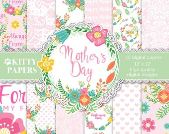 "Mother's Day digital paper : "" Mother's Day "" floral digital papers for Mother's Day, Mother Quotes, Mother Sayings, Printable Mothers Day"