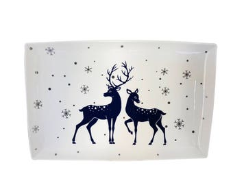 Beyond Tableware Porcelain Blue Reindeer Platter