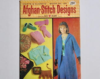 Afghan Stitch Designs 1965 Coats & Clark's Book No 162 Knitting Patterns