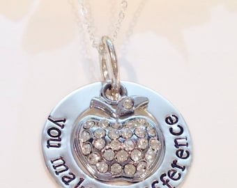 Teachers Necklace -Hand Stamped -Personalized Jewelry- Sterling Silvler Filled-Teacher Gift-Teacher Necklace-Teach-You make a difference-