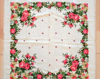Châle en laine Vintage écharpe en laine avec motif floral #126