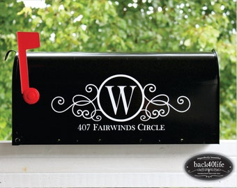 SALE!!! Swirly Monogram Mailbox Street Address Number Vinyl Decal (E-004a)