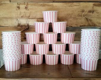 50 Pink striped 8oz paper cups/bowls - 200ml ice-cream/gelato/dessert cups - pink baby shower/birthday/wedding snack/treat cups
