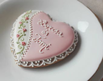 10 Vintage  -Rustic Style Engagement biscuits - Wedding favour biscuits cookies - wedding favors