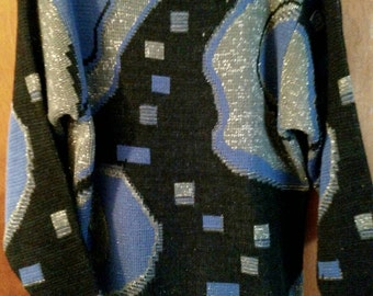 Vintage 80s women's size large sparkle sweater, abstract geometric print, black gray periwinkle with shoulder pads, hand wash.