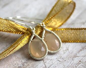 Blush Pink Moonstone Earrings - Teardrop Earrings - Sterling Dangle Earrings - Wire Wrapped Gemstone Jewelry