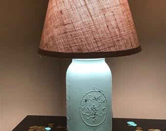 Sea Glass Lamp, Mason Jar Lighting, Mason Jar Lamp, Lamp, Blue, Wedding Gift, Shower Gift, Nursery, Rustic, Farmhouse Lamp, Accent Lamp
