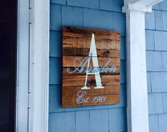 Monogrammed Recycled Barn Wood Sign with personalized established date!  Great Wedding gift, anniversary gift or on your front door!