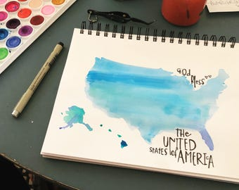 God bless the United States of America. Watercolor. Original. Typography.