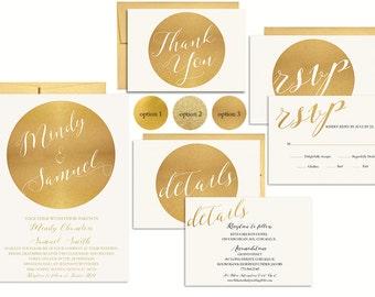 Gold Wedding Invitation Suite Printable   Metallic Wedding Invitation   Faux Gold Foil  Invitation   Elegant Wedding Invite Set   Printed