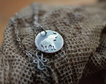 Elephant Necklace, Antiqued Silver Pendant- Handmade Silver Elephant- Nature Gift for Her or Gift for Him - Unisex Necklace Gift
