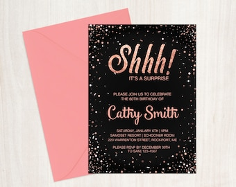 Shhh! It's a surprise! Surprise Birthday invitation. Printable DIY