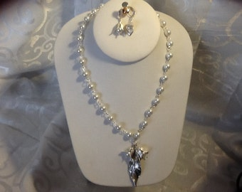 For the Bride, Vintage Style, Handcrafted Bridal Necklace and Earring Set with Glass Pearls, Silver Leaf, and Pearl Petals