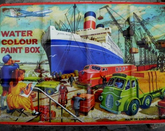 Vintage Children's Watercolor Paint Box - Litho Tin Box -  London - Made in England-1950s