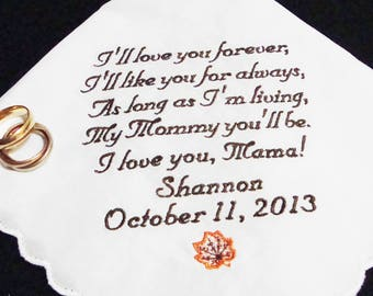Custom Embroidered Handkerchief for Mother of the Bride - Ladies Embroidered Handkerchief - Personalized Hanky for Mother of the Bride