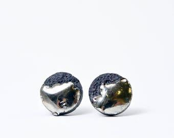 8 mm mens earring, OOAK jewelry, one of a kind jewelry, porcelain jewelry, stud earring men, earrings for sensitive ear, black stud earring