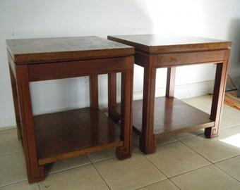 Pair Of Vintage Greek Key Wood / Burl Wood Inlay Trim End Tables Arlington  Furn.