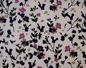 "Printed cotton fabric ""flowers"" pattern background white and purple"