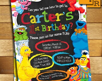 Elmo Invitation, Elmo Birthday Invitation, Sesame Street Invitation , 1st 2nd 3rd Birthday Party Invitation R-167