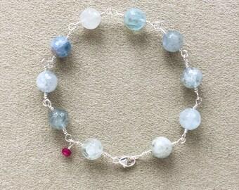 Aquamarine, Ruby Bracelet, Argentium Sterling Silver Wire Wrapped, Beaded Bracelet, Natural Gemstones, Meditation Bracelet, Yoga gift