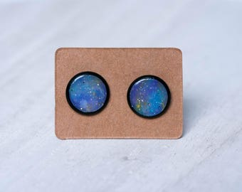 Pastel galaxy stud, celestial jewelry, black studs, galaxy jewelry, rainbow earrings, christmas, gift for her, girlfriend gift, xmas gift