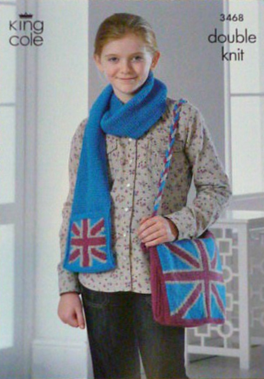 Childrens Knitting Pattern K3468 Childrens Union Jack Scarf with ...