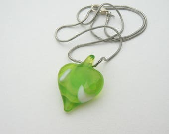 green glass heart pendant jewelry