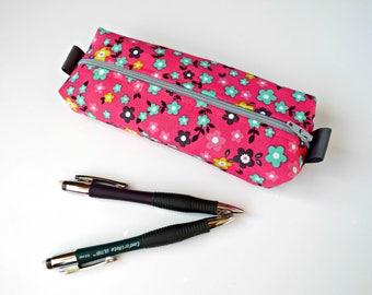 Fabric pencil case, box zipper pouch, pencil pouch zipper bag box pouch pencil bag tampon case purse organizer college gift pink floral
