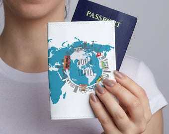 Pink map passport case custom design cover woman passport blue map passport case world travel pass cover woman passport holder travel leather cover passport case gumiabroncs Image collections