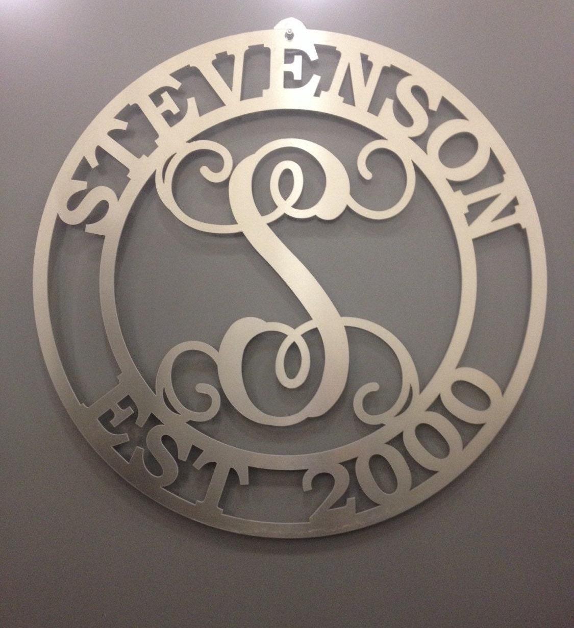 Outdoor Metal Monogram Letters Custom Stevenson Wedding Sign Family Sign Established Sign Last Decorating Design