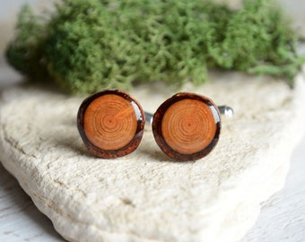 Rustic handmade wooden cuff links, wood cuff links, wedding cufflinks, eco wood anniversary gift  for him, woodland wedding accessories