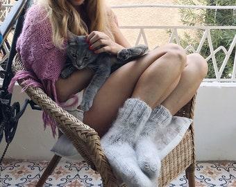 Socks of natural mohair