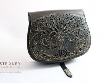 Tree of Life- Handmade Leather Bag, Leather Shoulder Bag, Leather Crossbody Bag, Gift for Her, Gift for Him
