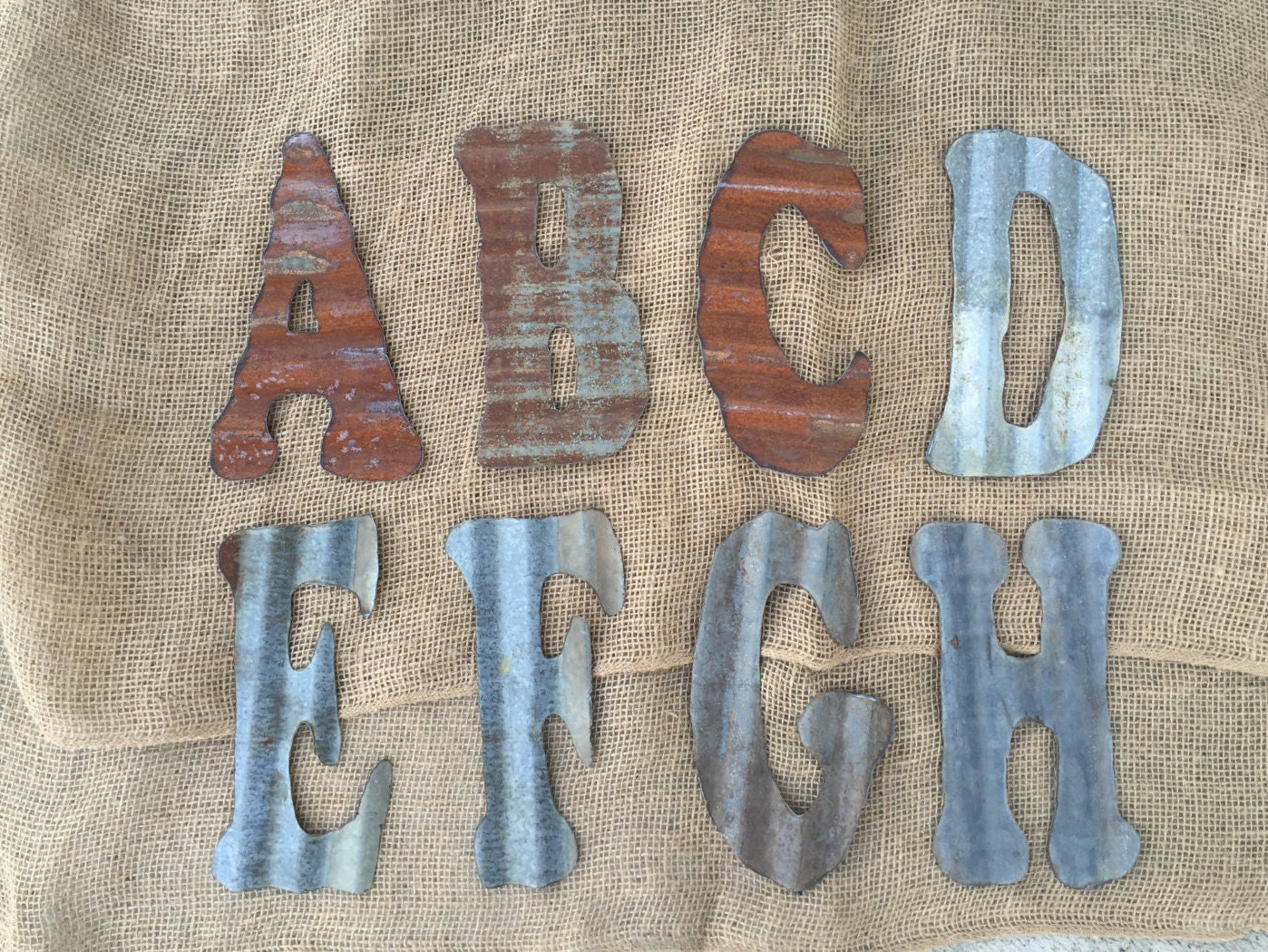 Tin Letters And Numbers 8 Inch Corrugated Tin Letters Rusty Letters Rustic Letters
