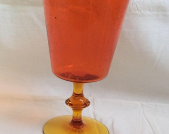 Mouth blown glass vase. Orange 60s vintage