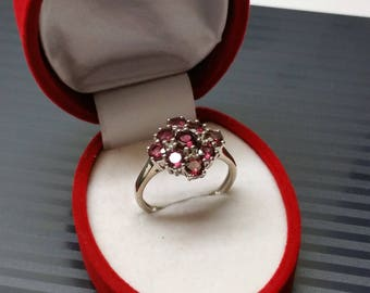 21.1 mm Ring Silver 925 crystals Raspberry Stainless SR992