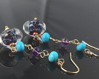 earrings- lampwork glass boro borosilicate beads - turquoise - amethyst - gold filled